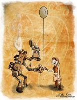 Steampunk Robot With Balloon by thedustud
