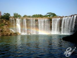 WaterFall with rainbow by phyllopillow