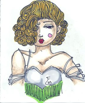 blonde lady in corset w copic markers by EvaHuynh