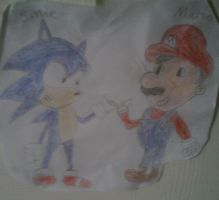 Mario and sonic by Jellybabiebunny