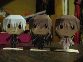 Zero, Yuki, and Kaname Vampire Knight Papercraft by inuyashashotty
