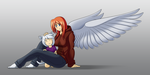 An angel and her kit-kat by Blazbaros