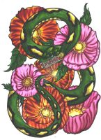 snake and flowers by Bheliar
