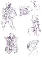 Tali and Javik sketch page by Meiphon
