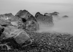 Blue Anchor beach black and white by nicholls34