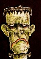 Depressed Frankenstein ACEO- FOR SALE by thebigduluth