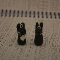Black Bun Charm and Black and White Bun Charm by Skyelark