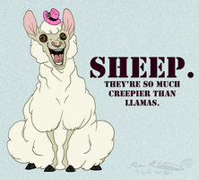 Sheep Are Creepier Than Llamas by Falcolf