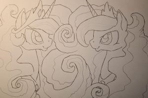 WIP Celestia and Luna by Kattvalk