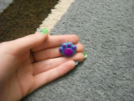 Paw Print Polymer Clay Charm by ResurrectedVampire69