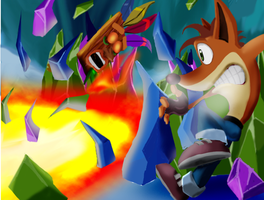 Crash vs. Dingodile by SilentCartoonist