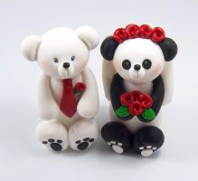 Polar Bear and Panda Bear Wedding Cake Topper by HeartshapedCreations