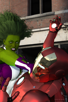 She-Hulk Slugs Iron Man (first Iray render) by CMKook-24601
