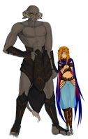 Character designs: Gilgamesh and Aria by niziolek