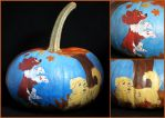Fall Puppies Painted Pumpkin by LeiliaK