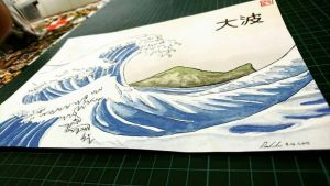Watercolor The Great Wave + Turtle Island by DeanCookArtist