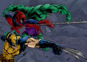Wolverine Spiderman And Hulk Attack Colours by warthogrampage