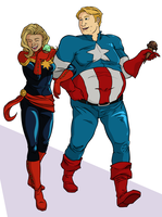 Cpt. Marvel and Heavy Cpt. America [MysteriesofMe] by Empty-Brooke
