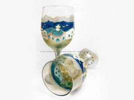 Hand-Painted Mediterranean Greek Wine Glasses by cardiae