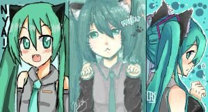 :iScribble: Black Nekomimi Mikus by 0-Tainasyum-0