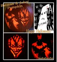 Batman and Joker Pumpkin by aakahasha