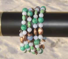Blue Green Copper Coil Bracelet Closeup 2 by Windthin