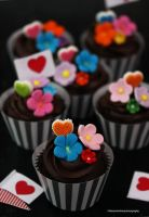 Dark Chocolate Fudge Cupcakes with Fondant Flowers by theresahelmer