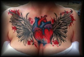 Heart and Wings Chest Piece Tattoo by CandiceTheTattooist