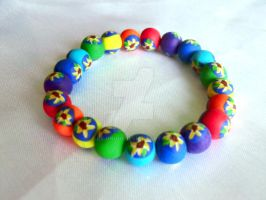 Rainbow sunflower bracelet by Bilongui