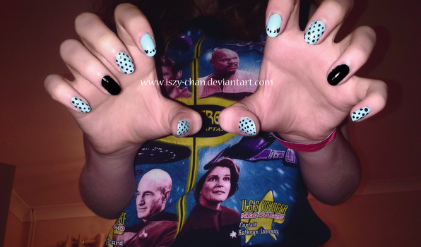 Blue and Black Polka Dot Nails by Iszy-chan