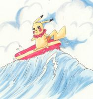 Surfing Pikachu by NevynS