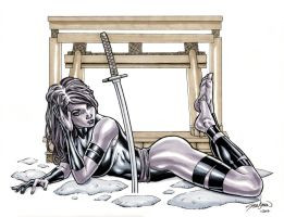 X-men PSYLOCKE Ink and Marker Sketch by John-Stinsman
