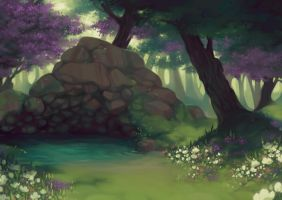 Forest Scene Commission by lastlabyrinth