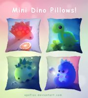 mini dino pillows by Apofiss