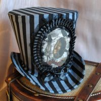 Steampunk Top Hat - Grey and Black Stripes by RagDolliesMadhouse