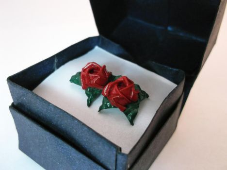 Passion Red Rose Earrings by PeryB