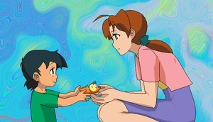 Ash and Delia: To make him feel better by SurferoftheWeb