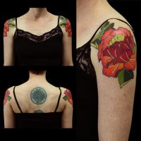Double Peony on Arms by Origam-e