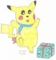 Pikachu With a Present by N64chick