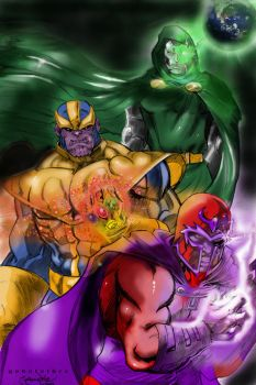 Magneto, Thanos and Dr Doom by godafather