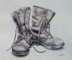 Old boots, dot art by rougealizarine