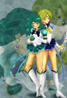 Sailor Neptune and Uranus by greenfire