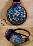 Stained glass dragon handpainted headphones by Lipwigs