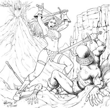 Red Sonja Attacks by robbyv