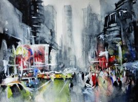 New York - New York - Watercolor by nicolasjolly