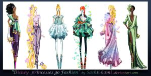Disney princesses go fashion II by Sashiiko-Anti