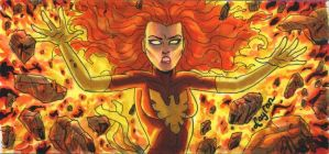 Marvel Premier Sketch Card: Dark Phoenix (Front) by DeJarnette