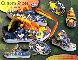 Custom Shoes Cats'n Stars by kina