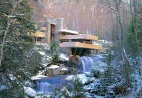 FALLINGWATER IN WINTER by glenninacrypt
