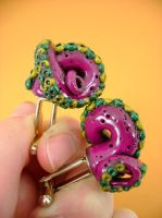 Wiggly Tentacle Cufflinks by monsterkookies